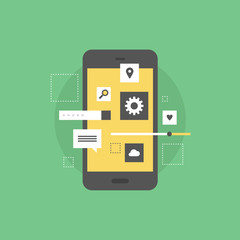 Mobile interface develop flat icon illustration