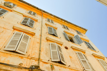 windows on the building in Corfu town, Venetian architecture