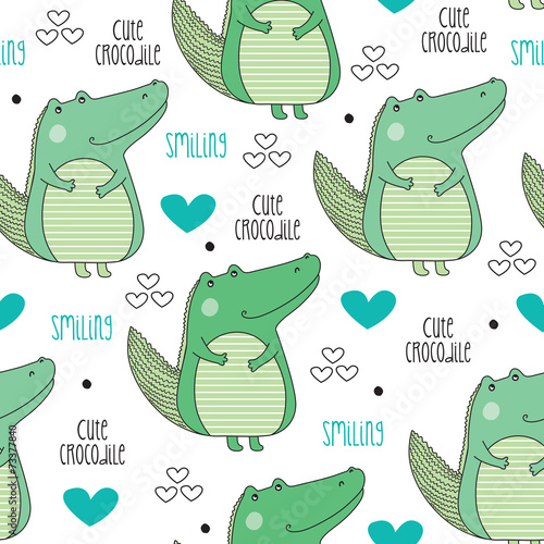 cute crocodile pattern vector illustration © Larienn
