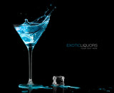 Cocktail Glass with Blue Spirit Drink Splashing. Template Design