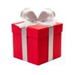 rotes Geschenk mit silber Schleife - 73378224