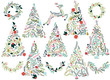 Floral or Botanical Christmas Trees, Wreaths, Bunting and Reinde - 73378270