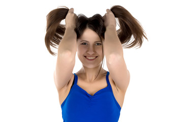 Image of funny woman with long hair