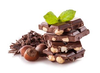 Pile of hazelnut chocolate on white background