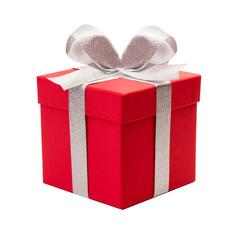 rotes Geschenk mit silber Schleife