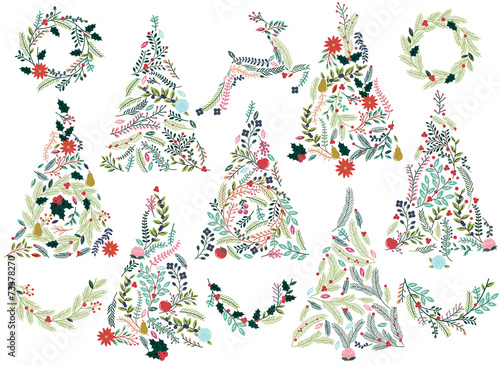 Floral or Botanical Christmas Trees, Wreaths, Bunting and Reinde