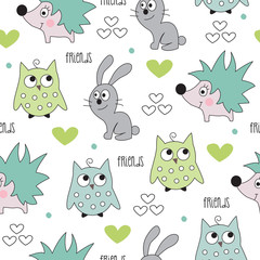 hedgehog, bunny, owl pattern vector illustration
