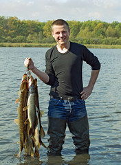 Lucky young fisherman
