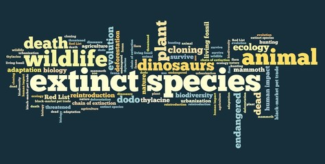 Extinct species - tag cloud