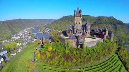 Gorgeous medieval castle aerial shot, vine hills village river