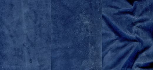 Set of very dark blue suede leather textures