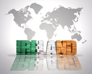 Word Ireland  on a world map background