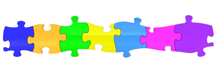 Разноцветные пазлы составленные в ряд