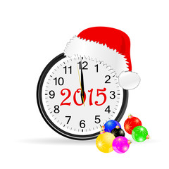 christmas clock 2015 color vector illustration