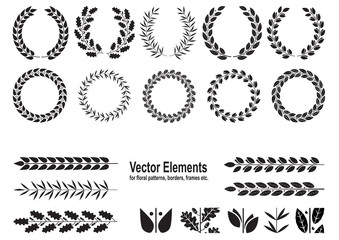 Set of silhouettes of wreaths