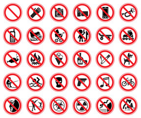 Set of prohibiting signs