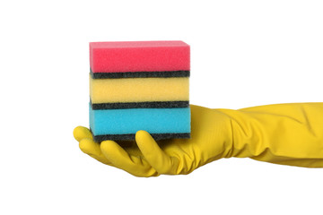 Cleaning equipment, hand in glove holding heap of sponge