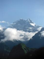 Himalayan Snowy Peak behind Green Hills