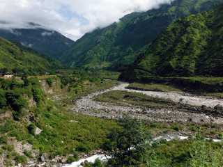 River Delta in Green Lower Himalayas