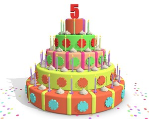Jarig - vijf jaar oud - jubileum taart