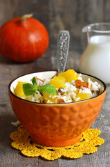 Pumpkin with rice,dried fruits and mint.