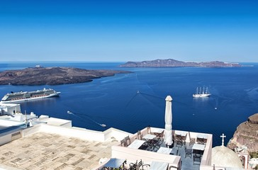 Panoramic terrace in Oia, Santorini island of Greece