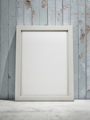 White canvas on wooden plank background