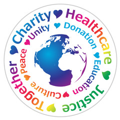 Humanitarian logo for peace, charity and social security