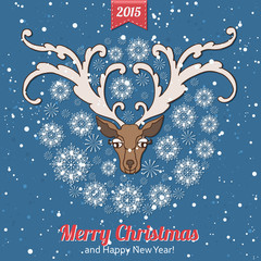Hand drawn Christmas greeting card with a cute deer and