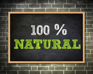 100 % NATURAL - blackboard concept