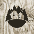 Vintage styled eco house badge with tree on wooden texture backg - 73381653