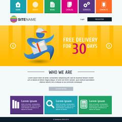 Corporate metro website template. Modern flat web design. Colorf