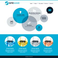 Corporate website template. Modern flat web design. Vector circl