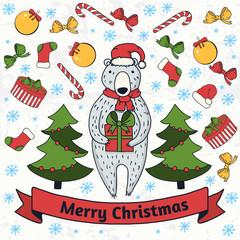 Cute cartoon bear with gift box. New year or Christmas greeting