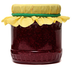 Glass jar with raspberry jam isolated on a white background