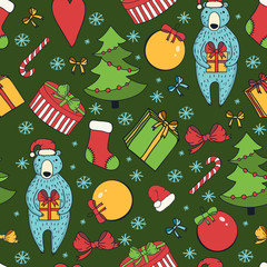 Merry Christmas and Happy New Year colorful seamless background.