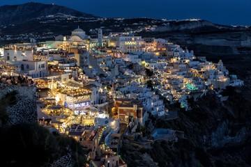 Night view of Fira, Santorini, Greece