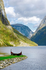 Old viking boat at Sognefjord, Norway