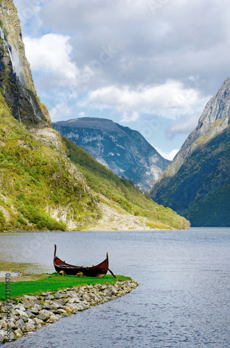 Old viking boat at Sognefjord, Norway - 73381670