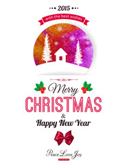 Christmas typographical background. Watercolor design with
