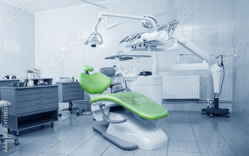 Leinwanddruck Bild Special equipment for a dentist, dentist office