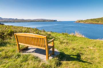 Wooden bench at Loch Harport