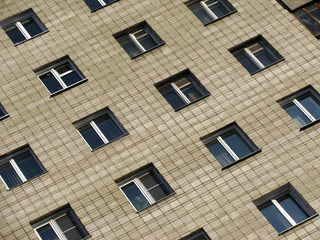 The windows in the brick house in Russia