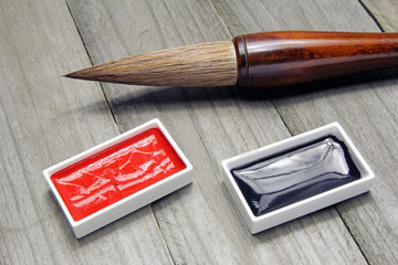 asian writing brush and ink for calligraphy