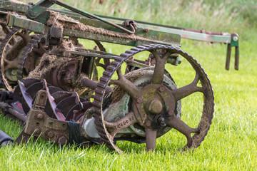 Golf course mower closeup