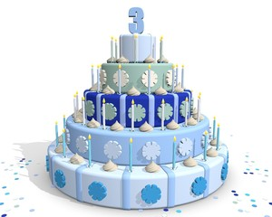 Derde jaar - taart met blauwe kleuren
