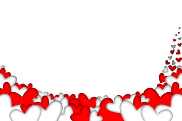 Red and white falling hearts