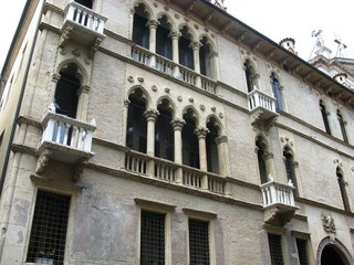 A historic palace with balconies and arcades in Vicenza
