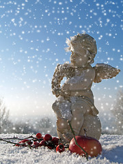 Engel, Eiskristalle und Schnee
