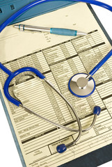 Clipboard With Patient Paperwork and Stethoscope